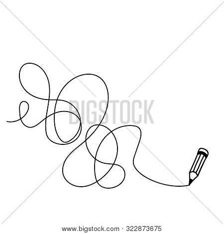 Random Chaotic Line Drawn In Pencil. Hand Drawing Insane Tangled Scribble Clew. Vector Illustration