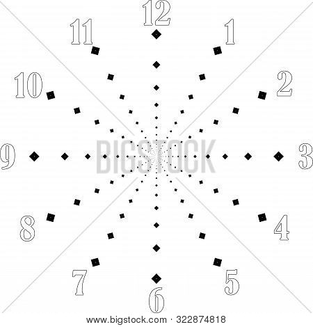 Clock Dial Big Void Numbers Black Diamond Axes Signs Pointing Negative Space For Seconds On Transpar