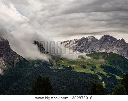 View Of Marmolada From Sella Pass In Cloudy Day, Dolomites, Italy