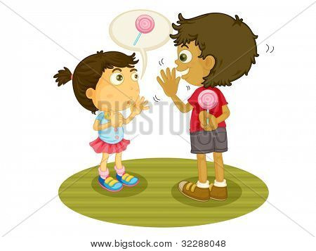Illustration of some children sharing food - EPS VECTOR format also available in my portfolio.