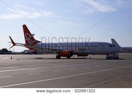 Borispol, Ukraine - September 10, 2019: Maintenance Of The Ur-sqb Skyup Airlines Boeing 737-800 Airc