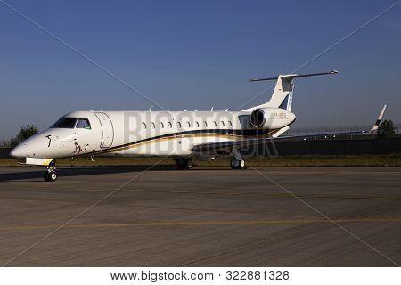 Borispol, Ukraine - September 10, 2019: P4-msg Silvershore Trading Ltd. Embraer Erj-135 Aircraft On