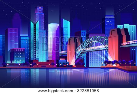 Future Town With Bridge And River Or Futuristic City With Modern Buildings Or Skyscraper Towers With