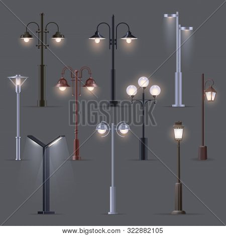Set Of Isolated Modern Street Light Or Old, Retro Lantern. Electric Lights On Pillar Or Post. Metall