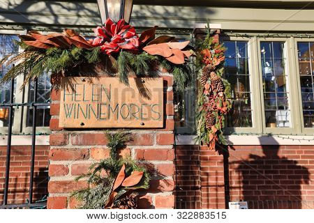 COLUMBUS, OHIO/UNITED STATES - DECEMBER 24, 2018:  Helen Winnemore's gift store is an important landmark in historic German Village in Columbus, Ohio.  It is decorated for the Christmas holiday.
