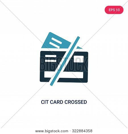 cit card crossed icon in two color design style. poster