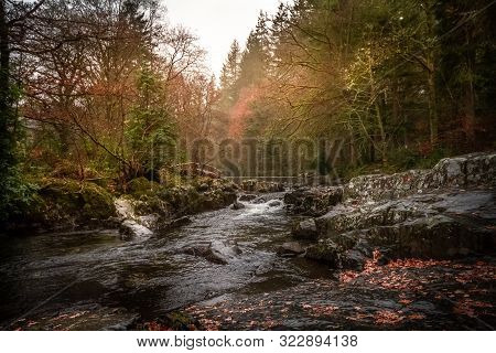 Gorgeous View Of Betws-y-coed In Snowdonia National Park, Wales In The Autumn.