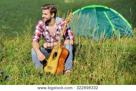 Musician Looking For Inspiration. Summer Vacation Highlands Nature. Dreamy Wanderer. Pleasant Time A