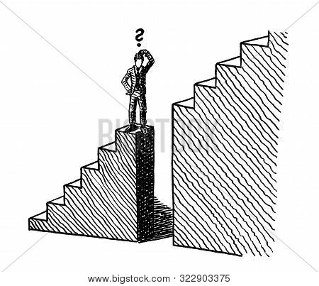 Freehand Line Art Sketch Of A Business Man Standing At The Verge Of A Deep Gap In A Stairway On His