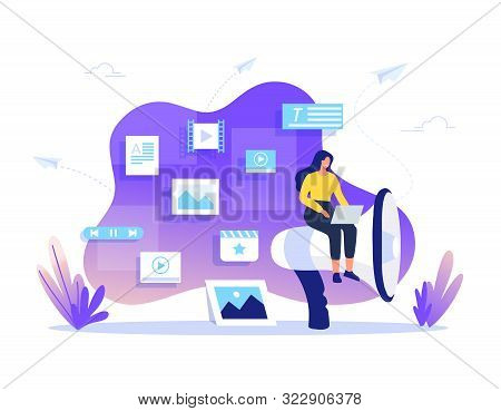 Smm, Content Management And Blogging Concept In Flat Design. Creating, Marketing And Sharing Of Digi