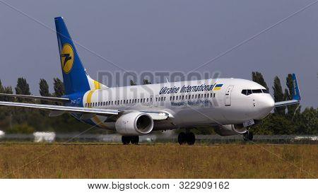 Borispol, Ukraine - September 10, 2019: Ur-uic Ukraine International Airlines Boeing 737-800 Aircraf