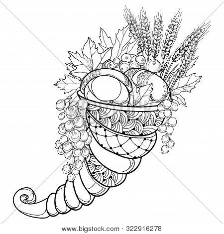 Vector Outline Cornucopia Or Horn Of Plenty Full Of Pumpkin, Grape, Wheat And Maple Leaves In Black