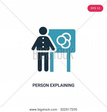 Person Explaining Data Icon In Two Color Design Style. Person Explaining Data Vector Icon Modern And