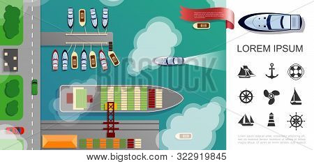Flat Seaport Top View Concept With Cargo Ship Boats Cars Riding On Road And Nautical Icons Vector Il