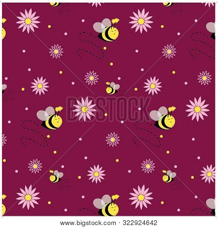 Cute Floral Buzzing Bee Repeat Pattern With Dots