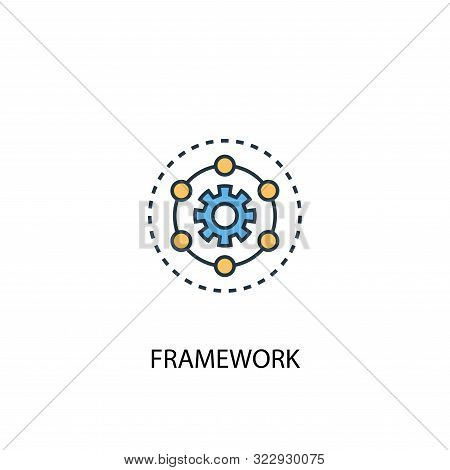 Framework Concept 2 Colored Line Icon. Simple Yellow And Blue Element Illustration. Framework Concep