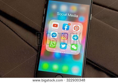 Tallinn / Estonia - September 18, 2019: Black Apple Iphone With Icons Of Social Media: Instagram, Yo