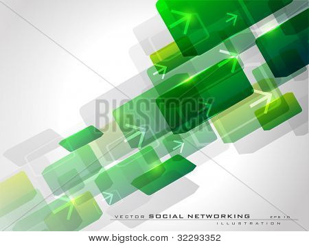 Abstract green background with arrows having shiny effect on white background and copy space. EPS 10, vector illustration.
