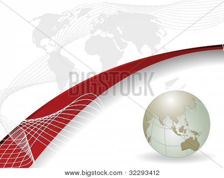 Professional Corporate or Business template for financial presentations showing globe in silver metallic color with red wave and copy space. EPS 10. Vector illustration. poster