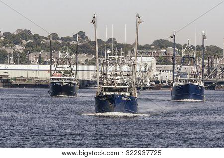 New Bedford, Massachusetts, Usa - August 20, 2019: Commercial Fishing Vessels Sharon K, Thunder Bay