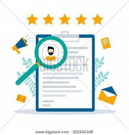 Resume, Curriculum Vitae. Job Search And Recruiting Concept.  Application Form Job Seeker. Modern Fl