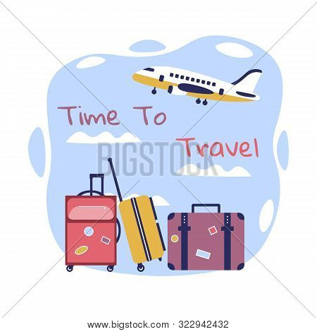 Time To Travel. Trip To World. Vacation, Tourism, Journey. Suitcase And Plane In Sky. Travelling Fla