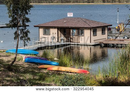 Chula Vista, California/usa - March 13, 2016:  Rental Kayaks Rest Outside The Boat Dock At Lower Ota