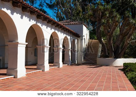 San Diego, California - April 1, 2017:  Archways Of The Junipero Serra Museum In Old Town, The Site