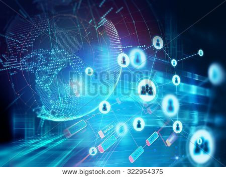 Abstract Illustration Background With User Icon And Connecting Dots And Lines .business And Global C