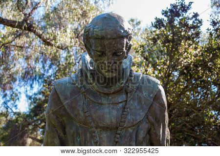 San Diego, California - August 13, 2016:  A Statue With The Bowed Head Of Father Junipero Serra At T