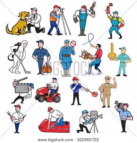 Set Or Collection Of Cartoon Mascot Style Illustration Of Tradesman, Surveyor, Plumber, Cleaner, Par