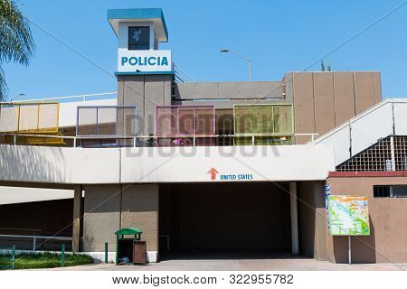 Tijuana, Baja California/mexico - June 20, 2018:  A Police Station With Signs Depicting The Entrance