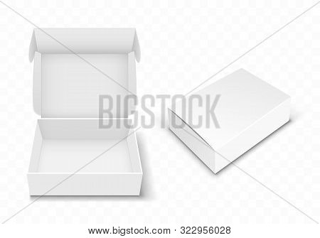 White Blank Cardboard Box With Flip Top, Realistic Vector Illustration. Rectangular Caton Pack With