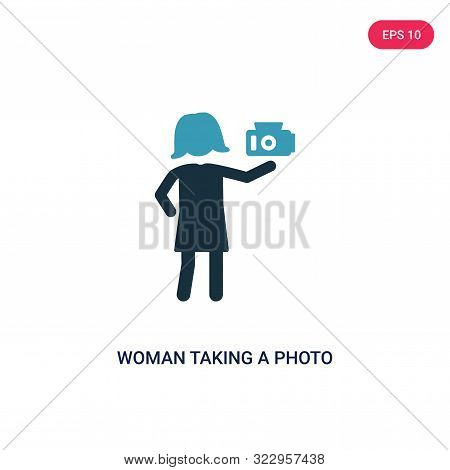 Woman Taking A Photo Icon In Two Color Design Style. Woman Taking A Photo Vector Icon Modern And Tre