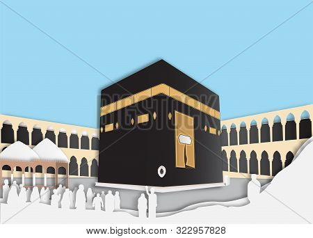 Paper Cut Hajj Um-rah At Kabbalah Al-ha Ram In Mecca Saudi Arabia -  Ad Ha Mubarak - Vector Illustra