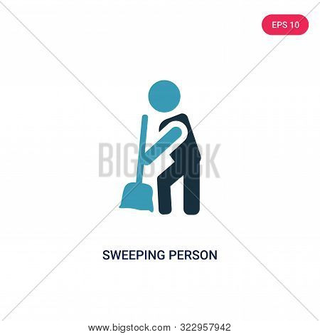 Sweeping Person Icon In Two Color Design Style. Sweeping Person Vector Icon Modern And Trendy Flat S