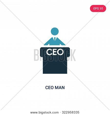 ceo man icon in two color design style.