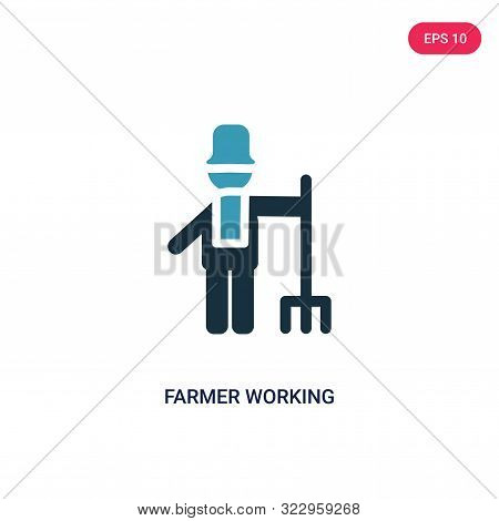 Farmer Working Icon In Two Color Design Style. Farmer Working Vector Icon Modern And Trendy Flat Sym