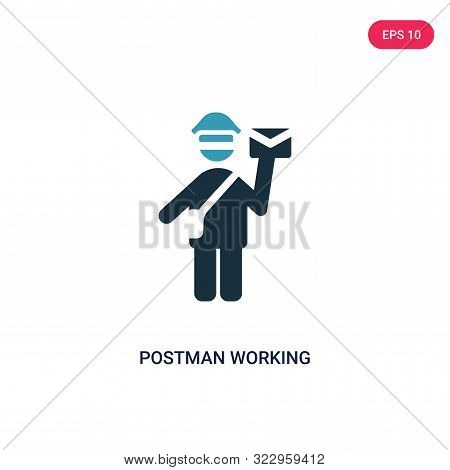 Postman Working Icon In Two Color Design Style. Postman Working Vector Icon Modern And Trendy Flat S