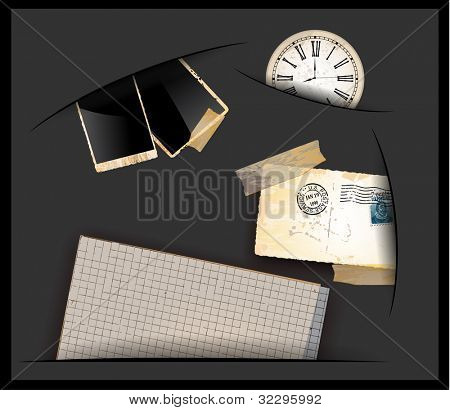 Vintage stuff coming out from a little hole. Photo frames, Scrapbook old paper, antique clock and a used postcard.