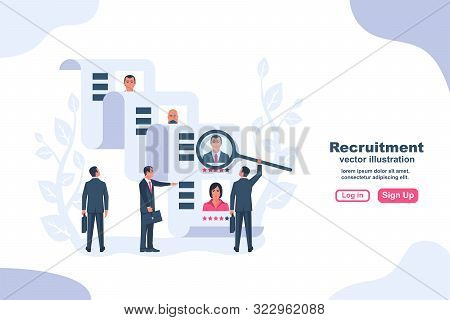 Recruitment Concept. Businessman Employer Search Resume Staff Selects Candidates. Vector Illustratio