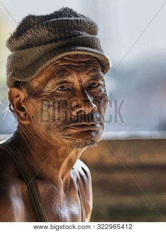Khonoma Village, Nagaland, India, December 2016,  Close-up Of Old Man.