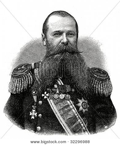 Vice-Admiral Stepan Makarov. Engraving by  Shyubler. Published in magazine
