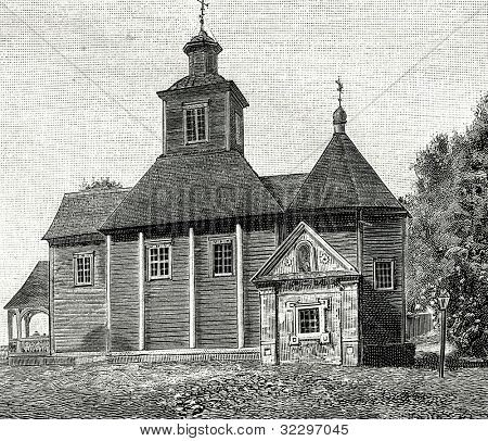 Church, built by Peter I in memory of victory over Swedes near village Lesnaya. Engraving by  Rashevsky. Published in magazine