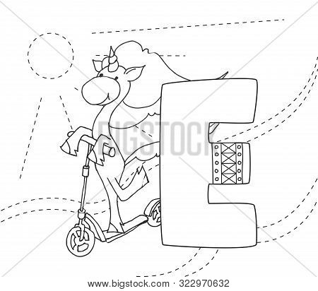 Letter E And Funny Cartoon Unicorn. Coloring Page. Animals Alphabet A-z. Cute Zoo Alphabet In Vector