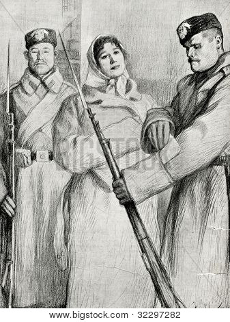 """""""Resurrection,"""" a novel of Leo Tolstoy. Ekaterina Maslova and the convoy. Picture by  Pasternak. Published in magazine """"Niva"""", publishing house A.F. Marx, St. Petersburg, Russia, 1899"""