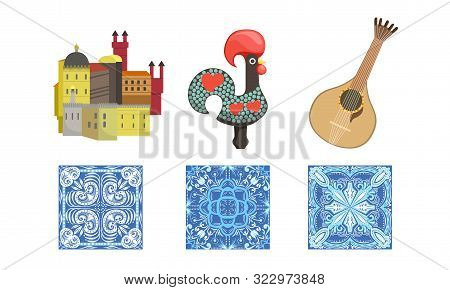 Traditional Cultural Portugal Symbols Set, Historical Signs Of Lissabon, Travel To Portugal Design E