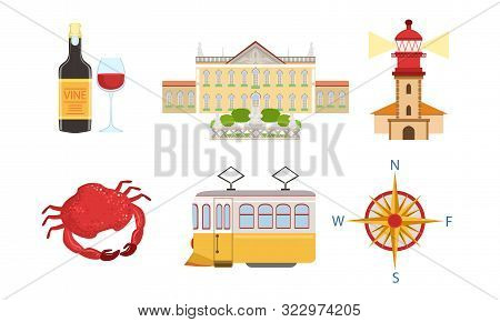 Traditional Portugal Symbols Set, Historical And Cultural Signs Of Lissabon, Travel To Portugal Desi
