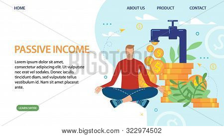Metaphor Landing Page Promoting Passive Income. Cartoon Man Meditating While Money Falling From Fina