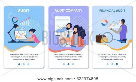 Mobile Landing Page Set Offering Financial Company Audit. Cartoon People Analytics Team Characters W